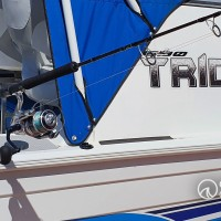Our custom made rod riggers on a Quintrex 690 Trident.
