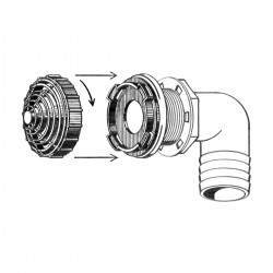Overflow Fittings with Filter – 38MM, 90° Elbow